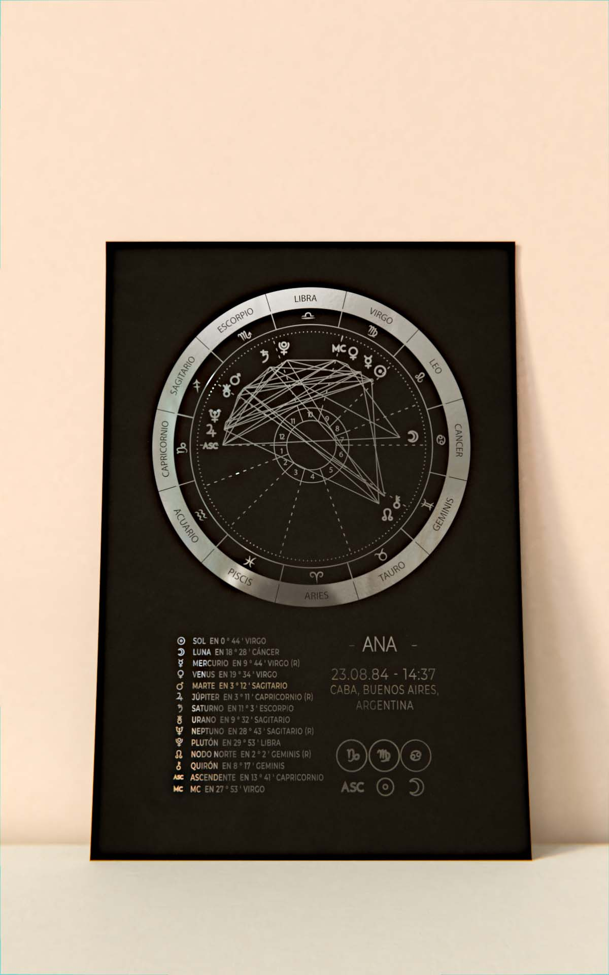 Arte Astral - Carta Astral Detallada Plateado Sin Marco Hoja Negra