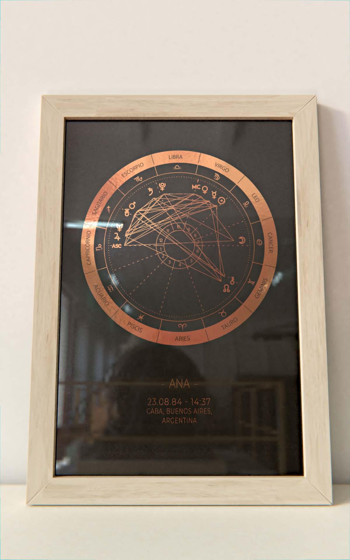 Arte Astral - Carta Astral Simple Cobre marco natural Hoja Negra