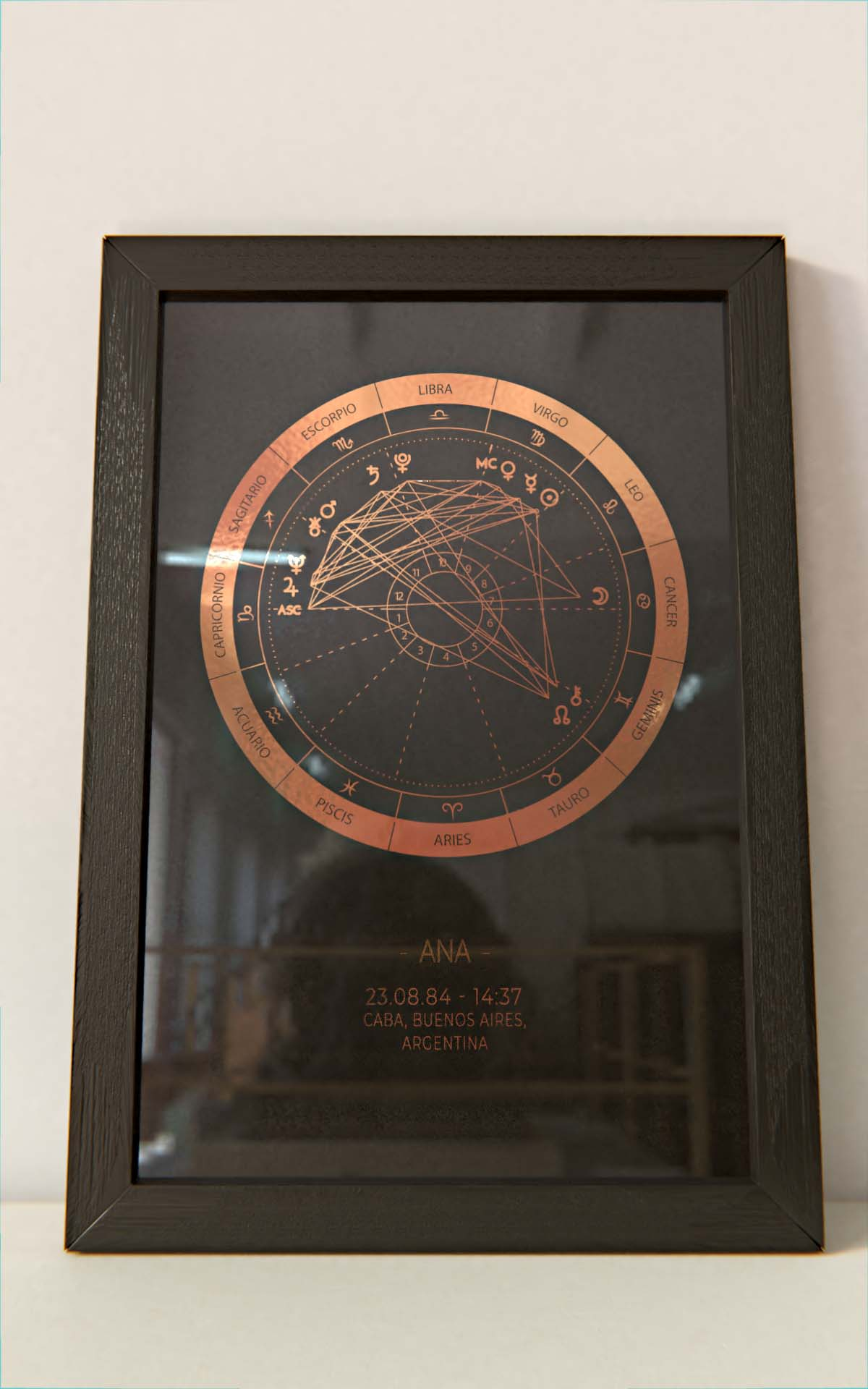 Arte Astral - Carta Astral Simple Cobre marco negro Hoja Negra