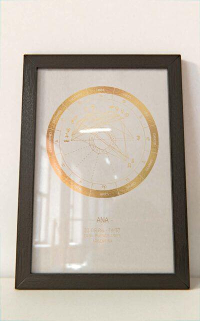 Arte Astral - Carta Astral Simple Dorado marco negro Hoja Blanca