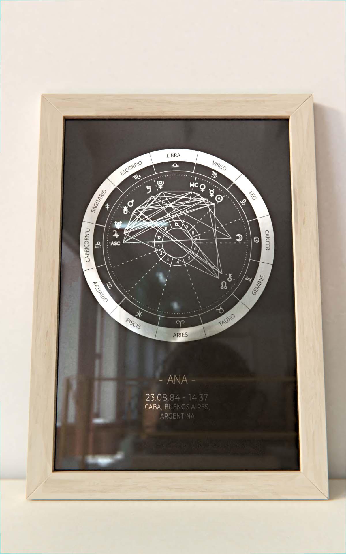 Arte Astral - Carta Astral Simple Plateado marco natural Hoja Negra