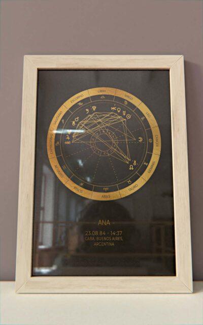 Arte Astral - Carta Astral Simple dorado marco natural Hoja Negra 2